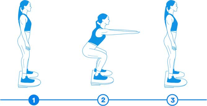 Illustration of someone doing squats step-by-step.